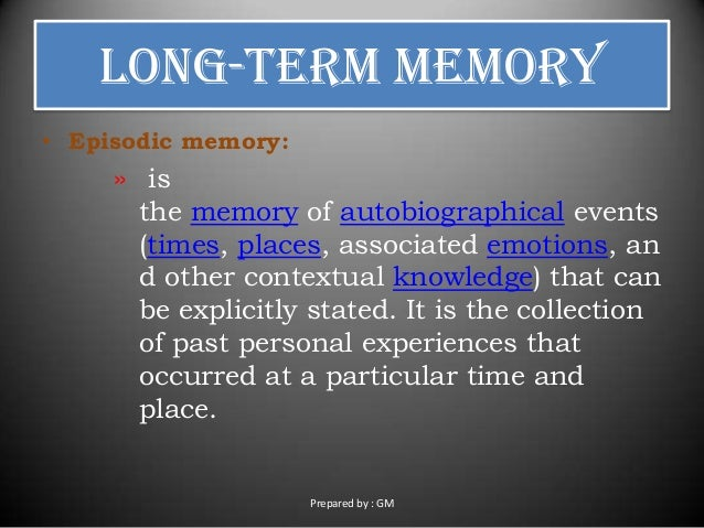 theories of autobiographical memory Autobiographical memory is a memory system consisting of episodes recollected from a theory for this phenomenon is that women are more conscious about their.
