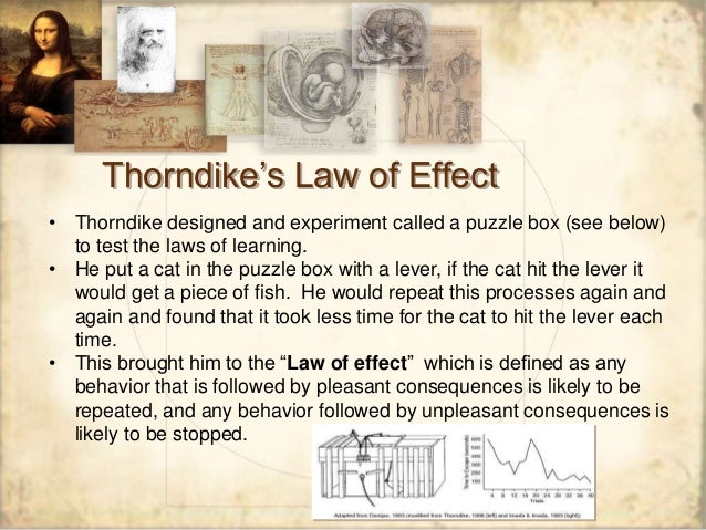 thorndike s law of effect 2017-5-5 what was thorndike's law of effect thorndike explained learning with his law of effect animals tended to repeat a behavior that resulted in a pleasing effect.