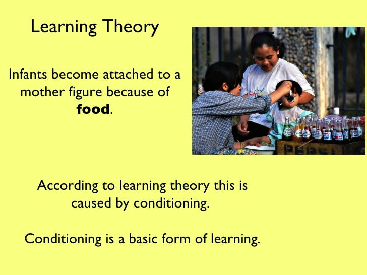Infants become attached to a mother figure because of  food . According to learning theory this is caused by conditioning....