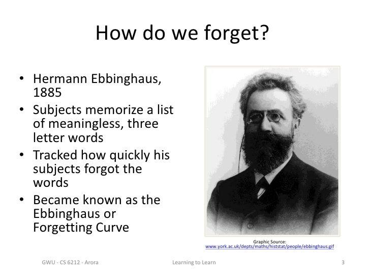 herman ebbinghaus Hermann ebbinghaus barmen ebbinghaus se uso así mismo como su único sujeto de estudio aprendía series de silabas sin sentido consistente en trigramas consonante.