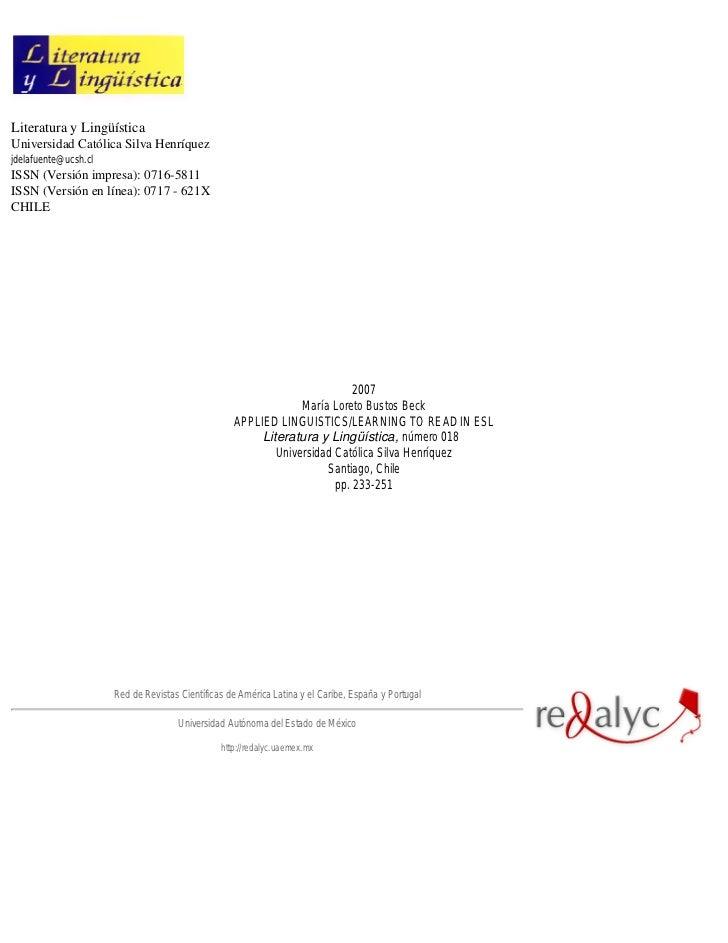 Literatura y LingüísticaUniversidad Católica Silva Henríquezjdelafuente@ucsh.clISSN (Versión impresa): 0716-5811ISSN (Vers...