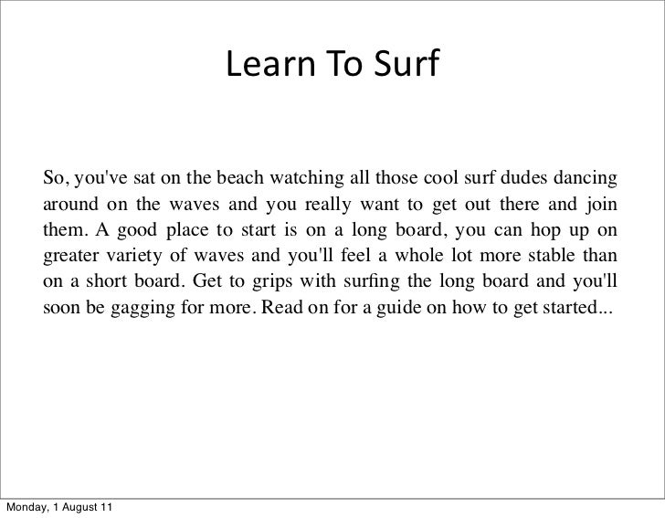 Learn To Surf In  Easy Steps