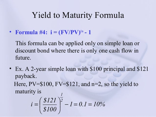Yield to maturity discount bond formula