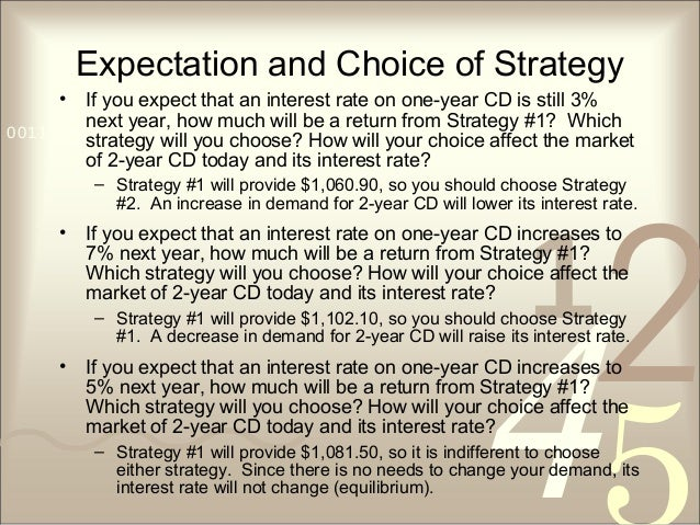 421 0011 0010 1010 1101 0001 0100 1011 Expectation and Choice of Strategy • If you expect that an interest rate on one-yea...