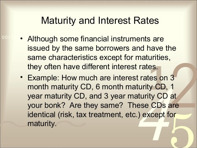 421 0011 0010 1010 1101 0001 0100 1011 Maturity and Interest Rates • Although some financial instruments are issued by the...