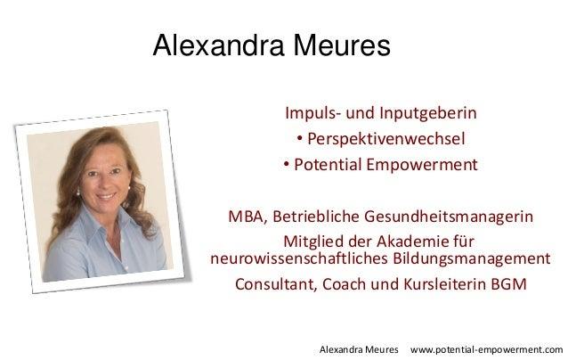 Alexandra Meures Alexandra Meures www.potential-empowerment.com Impuls- und Inputgeberin • Perspektivenwechsel • Potential...