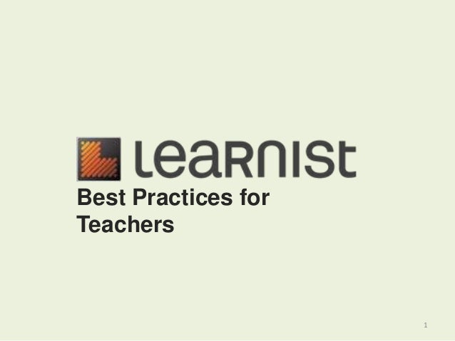 1 Best Practices for Teachers