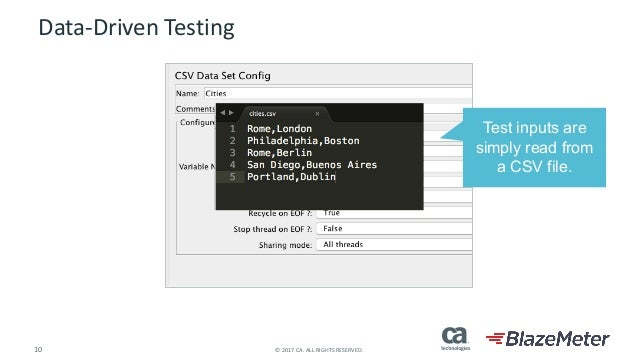 10 ©2017CA.ALLRIGHTSRESERVED. Data-DrivenTesting Test inputs are simply read from a CSV file.