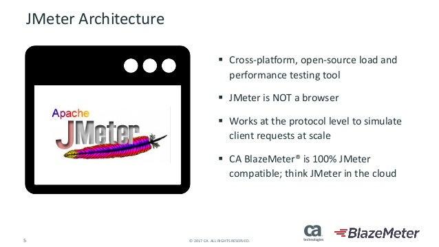 5 ©2017CA.ALLRIGHTSRESERVED. JMeter Architecture § Cross-platform,open-sourceloadand performancetestingtool § J...