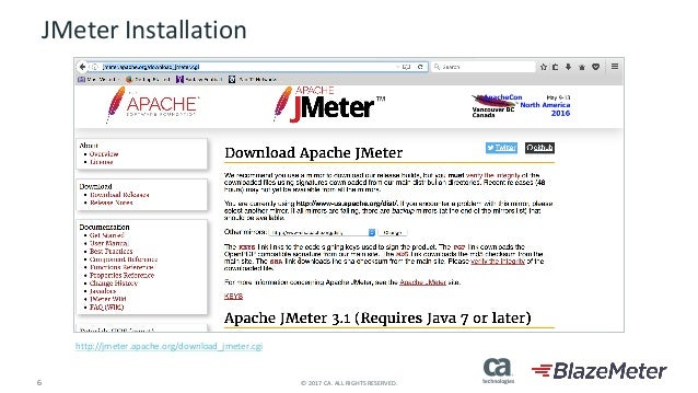 6 ©2017CA.ALLRIGHTSRESERVED. JMeterInstallation http://jmeter.apache.org/download_jmeter.cgi