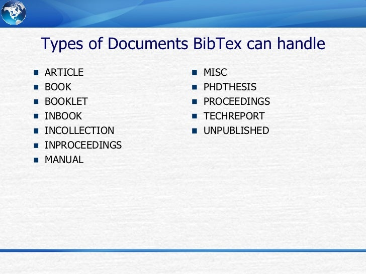 bibtex article book thesis This is the first line of a record entry, @article denotes the entry type and tells bibtex that the information stored here is about an article besides the entry types shown in the example ( article , book and misc ) there are a lot more, see the reference guide.