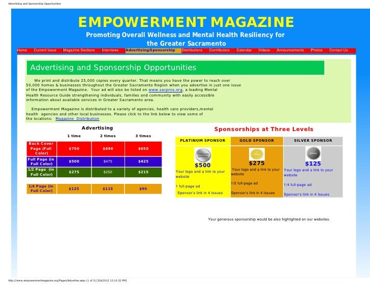 Advertising and Sponsorship Opportunities                                                   EMPOWERMENT MAGAZINE          ...
