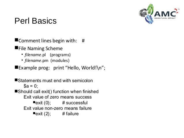 Learn perl in amc square learning for Perl script template