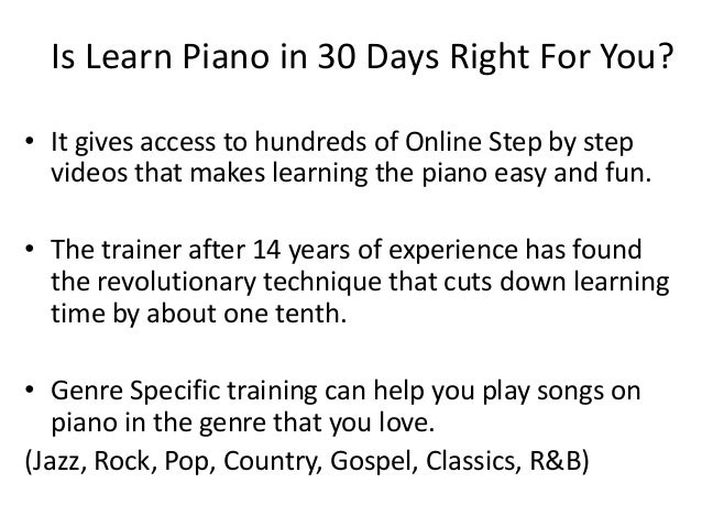 Learn Piano In 30 Days Review - LearnPianoIn30DaysFree.com