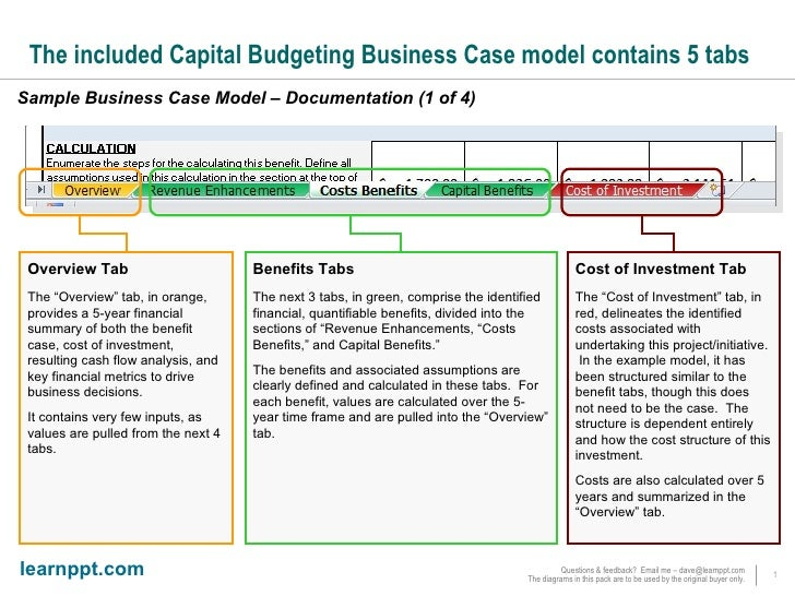 The Included Capital Budgeting Business Case Model Contains 5 Tabs Sample  Business Case Model U2013 Documentation ...  Business Case Examples Free