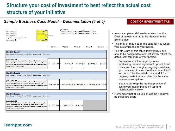 Business Case Excel Financial Model Documentation