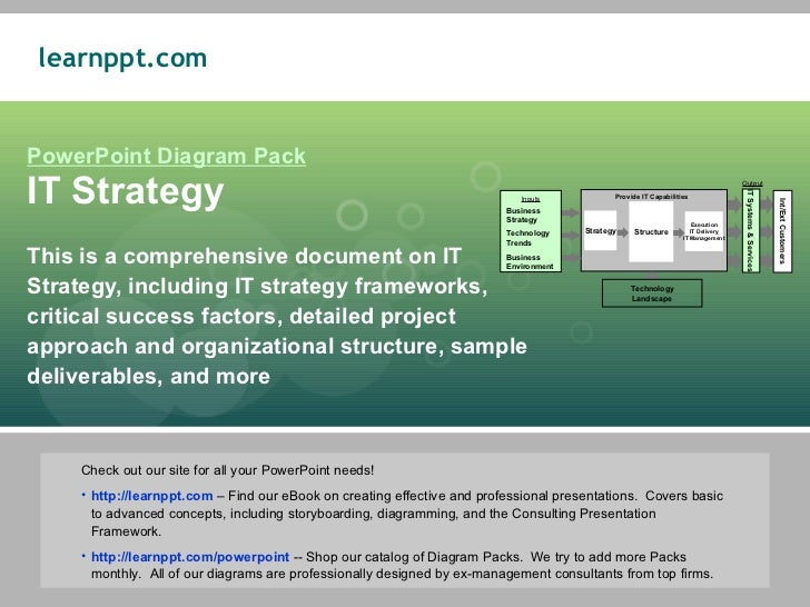 PowerPoint Diagram Pack IT Strategy This is a comprehensive document on IT Strategy, including IT strategy frameworks, cri...