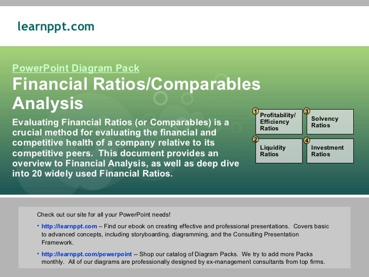 PowerPoint Diagram Pack Financial Ratios/Comparables Analysis Evaluating Financial Ratios (or Comparables) is a crucial me...
