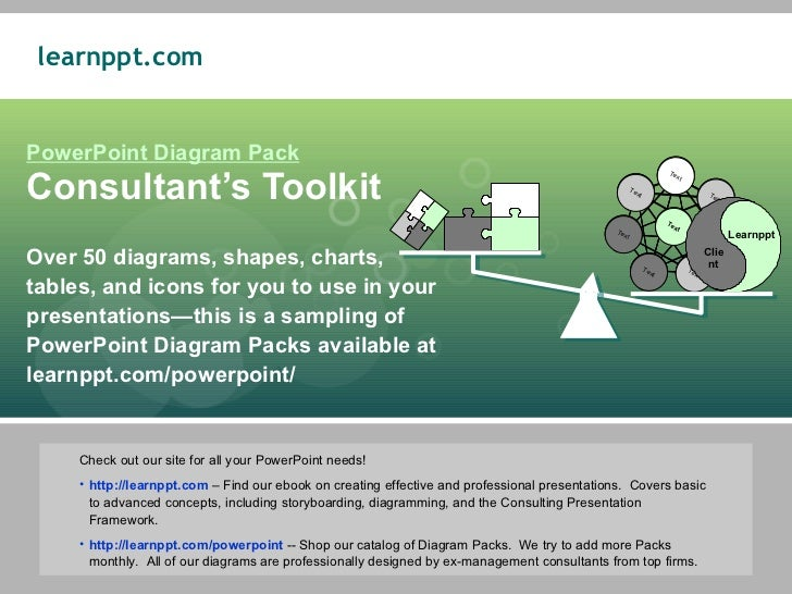 PowerPoint Diagram Pack Consultant's Toolkit Over 50 diagrams, shapes, charts,  tables, and icons for you to use in your p...