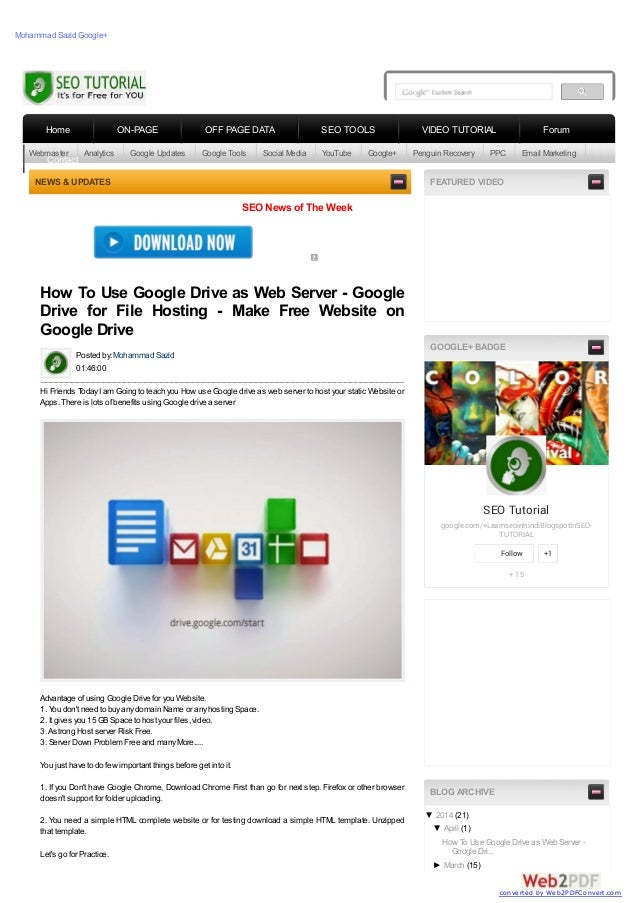 How to Use Google Drive As Webserver to host a Website