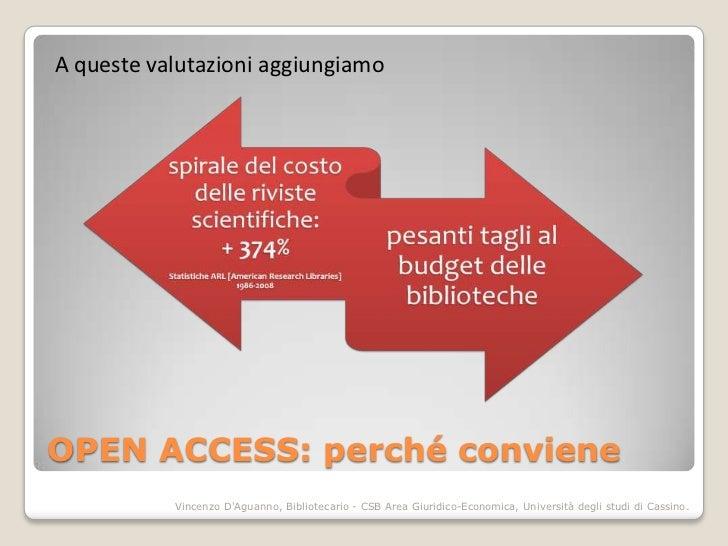 A queste valutazioni aggiungiamoOPEN ACCESS: perché conviene           Vincenzo DAguanno, Bibliotecario - CSB Area Giuridi...