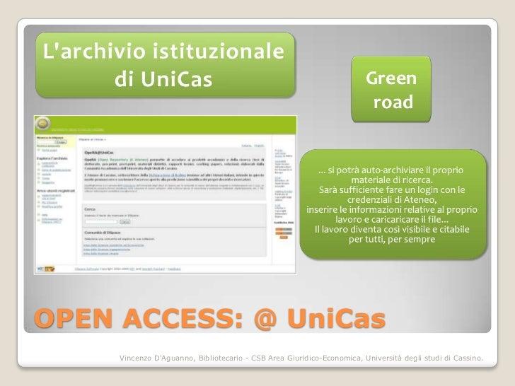 Green                                                                         roadOPEN ACCESS: @ UniCas     Vincenzo DAgua...