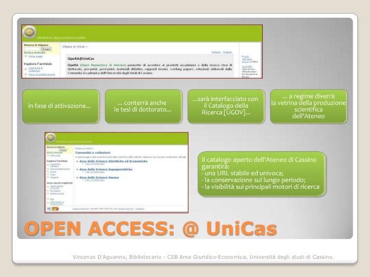 OPEN ACCESS: @ UniCas    Vincenzo DAguanno, Bibliotecario - CSB Area Giuridico-Economica, Università degli studi di Cassino.
