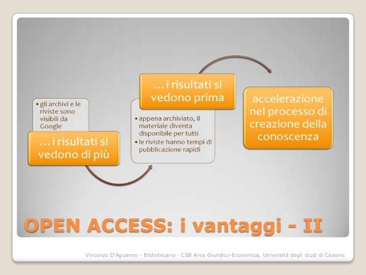 OPEN ACCESS: i vantaggi - II     Vincenzo DAguanno - Bibliotecario - CSB Area Giuridico-Economica, Università degli studi ...
