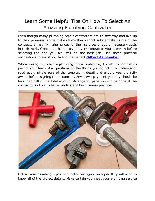 Learn Some Helpful Tips On How To Select An Amazing Plumbing Contract