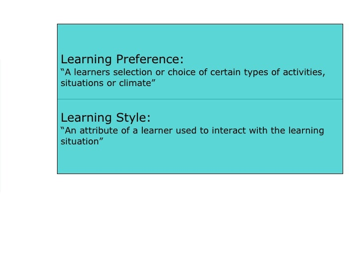 """Learning Preference: """" A learners selection or choice of certain types of activities, situations or climate"""" Learning Styl..."""