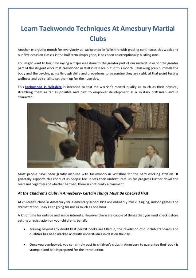 Learn Taekwondo Techniques At Amesbury Martial Clubs