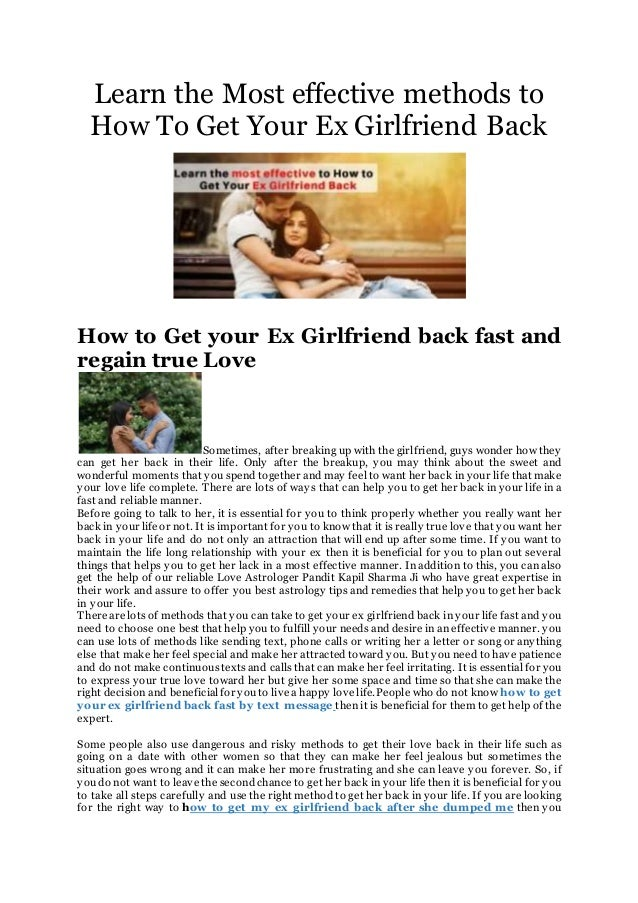How to get my ex girlfriend back fast  How To Get Your Ex
