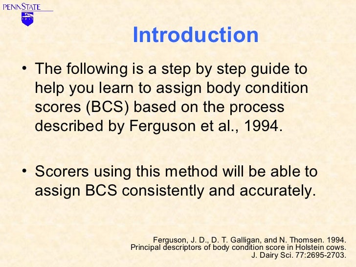 Learn to Score Body Condition for Dairy Cows Slide 2