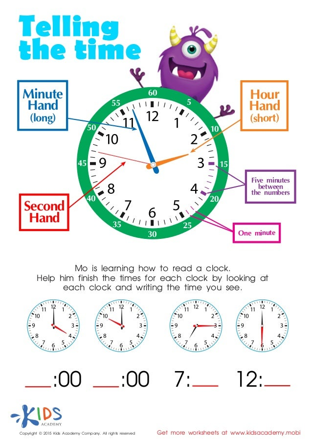 Printable Worksheets telling time in spanish printable worksheets : Learn to tell time - printable worksheets for kids