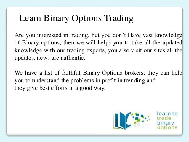 internet listing of binary options brokers
