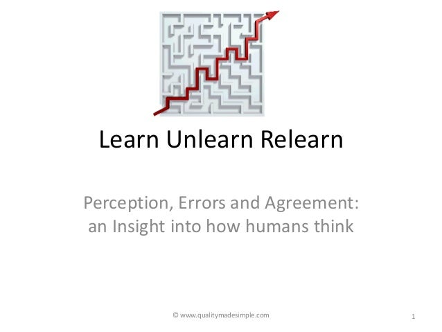 © www.qualitymadesimple.com Learn Unlearn Relearn Perception, Errors and Agreement: an Insight into how humans think 1