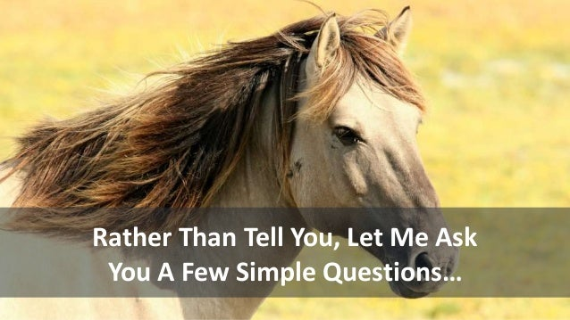 Rather Than Tell You, Let Me Ask You A Few Simple Questions…