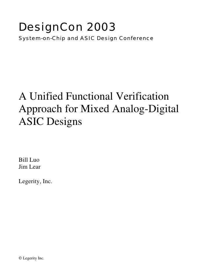 DesignCon 2003 System-on-Chip and ASIC Design Conference     A Unified Functional Verification Approach for Mixed Analog-D...