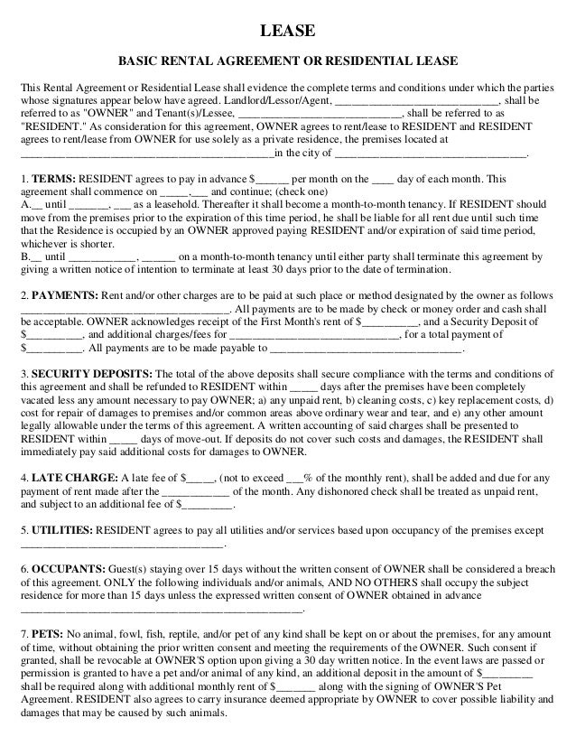 Rental House Lease Agreement Template Template Examples – Basic Lease Agreements