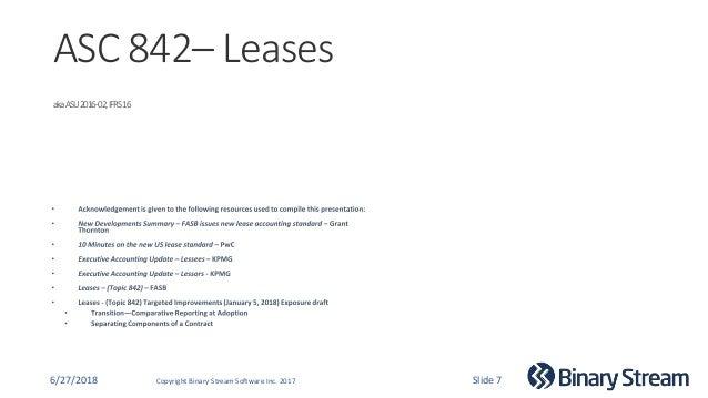 Binary Stream Webinar Series - ASC 842 Lease Accounting