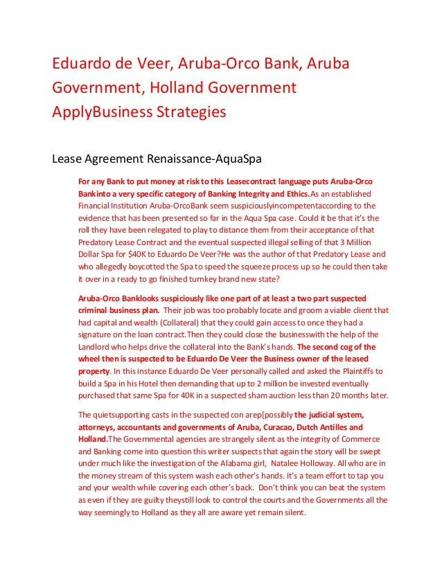 Eduardo de Veer, Aruba-Orco Bank, ArubaGovernment, Holland GovernmentApplyBusiness StrategiesLease Agreement Renaissance-A...
