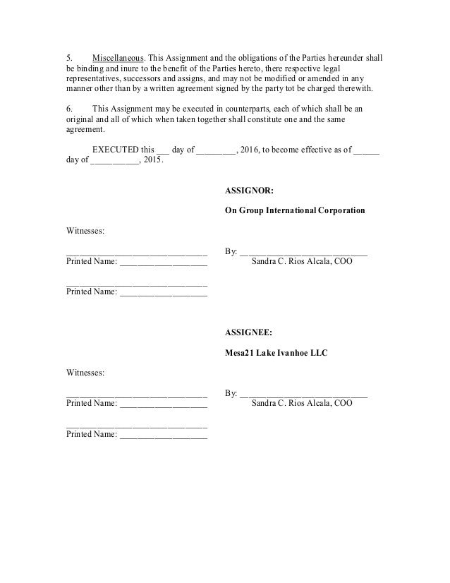 Lease Assignment On_Group_Intl_To_Mesa_21_City_Clean#2