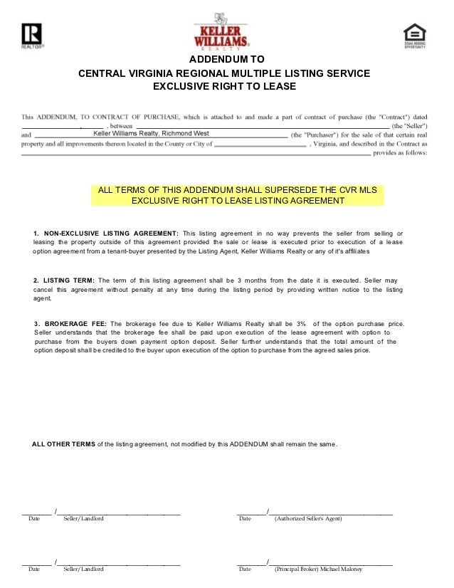 Lease listing agreement 5 addendum to central virginia regional multiple listing service exclusive platinumwayz