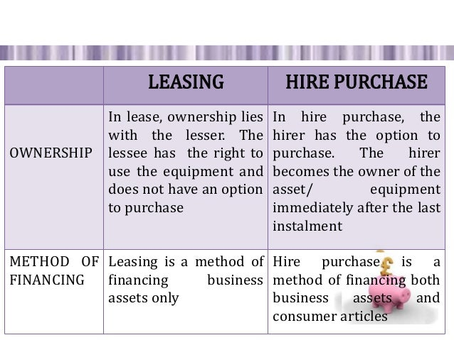 lease financing and hire purchase