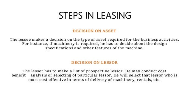 STEPS IN LEASING DECISION ON ASSET The lessee makes a decision on the type of asset required for the business activities. ...