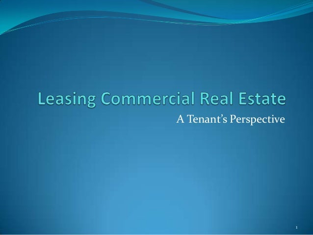 A Tenant's Perspective                         1