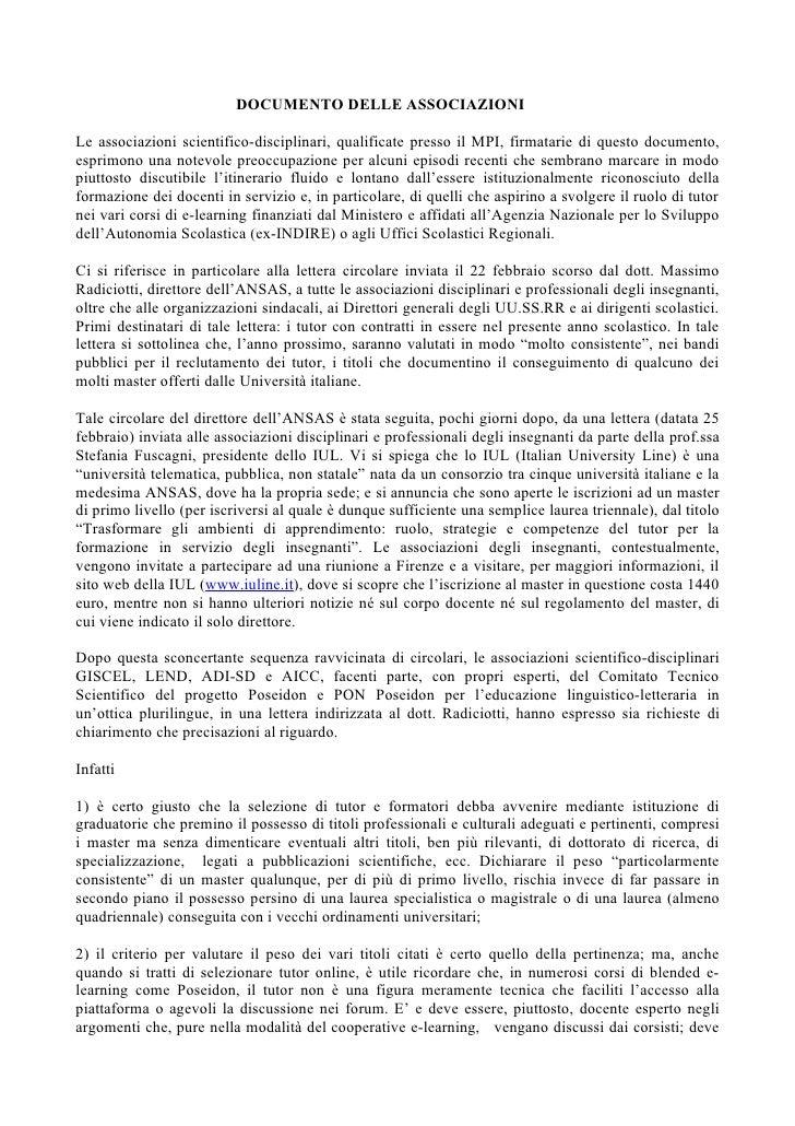 DOCUMENTO DELLE ASSOCIAZIONI  Le associazioni scientifico-disciplinari, qualificate presso il MPI, firmatarie di questo do...