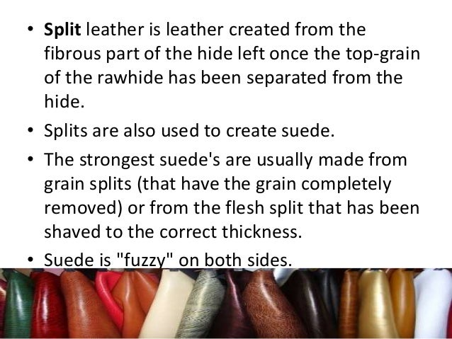 • Split leather is leather created from the fibrous part of the hide left once the top-grain of the rawhide has been separ...