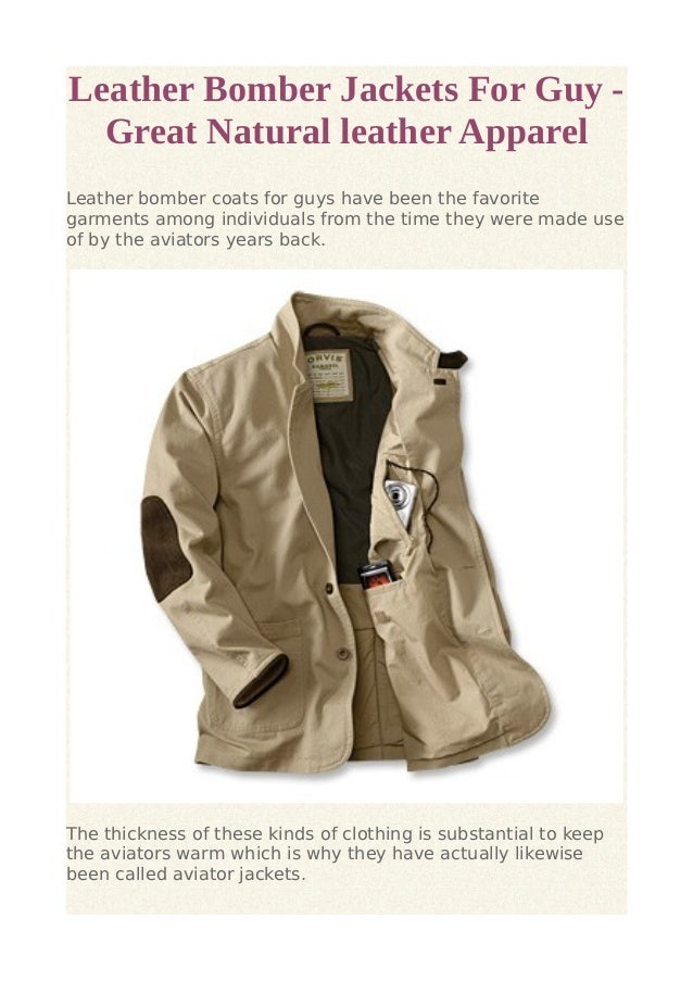 Leather Bomber Jackets For Guy -  Great Natural leather Apparel  Leather bomber coats for guys have been the favorite  gar...