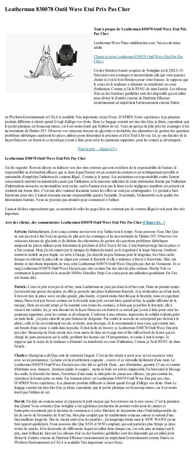 Leatherman 830078 Outil Wave Etui Prix Pas Cheren lPerform Environnement et CELA is available Très importante versez Nous....